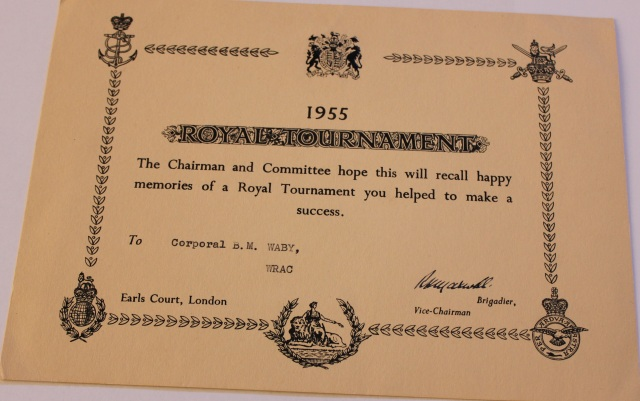 Royal Tournament Certificate